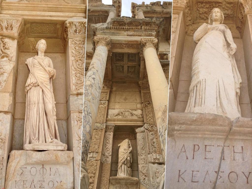 Bugün sütun nişlerinde yer alan heykeller, orijinallerinin kopyalarıdır.