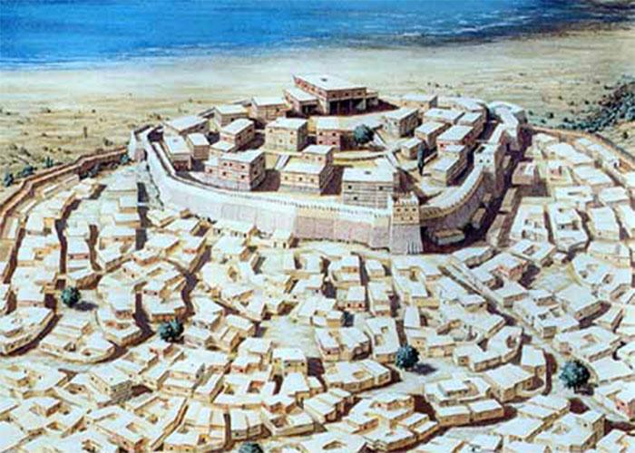 Burada gösterilen, bir sanatçının MÖ 1400 civarında Troya VIh / VIi izlenimidir