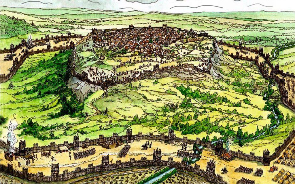 Surlar arasındaki boşluğu işgal eden Sezar, yardım gelmeden kuşatmayı bitirmeyi umuyordu. Alesia'da, yiyecek kıtlaştıkça koşullar hızla kötüleşti.