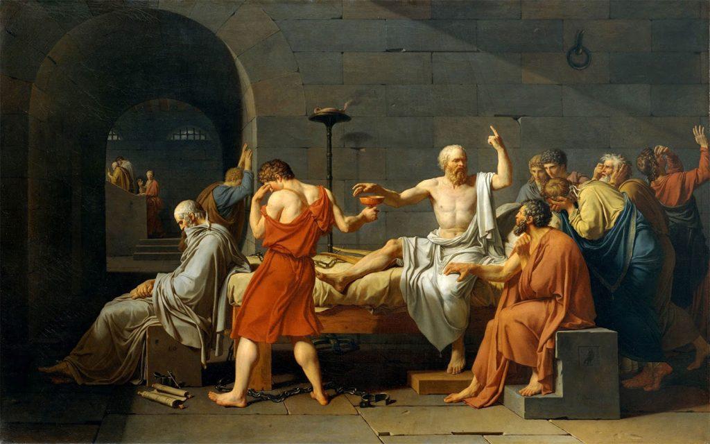 Sokrates zehirli baldıran bardağını elinde tutuyor